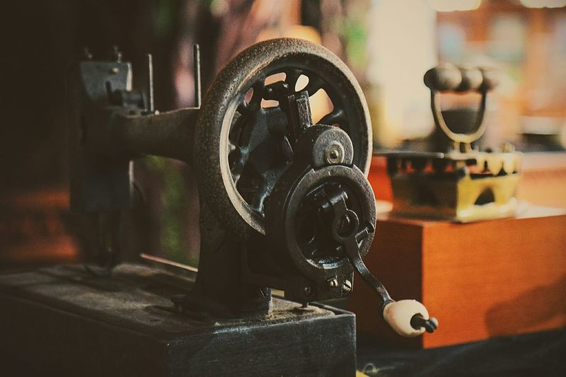Close-up of old-fashioned sewing machine