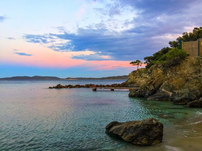 Sunrise Côte D'Azur Travel Morning Sky Morning Light Morning Provence France Sky Sea Water Scenics Beauty In Nature Cloud - Sky Rock - Object Tranquil Scene No People Beach Horizon Over Water Architecture