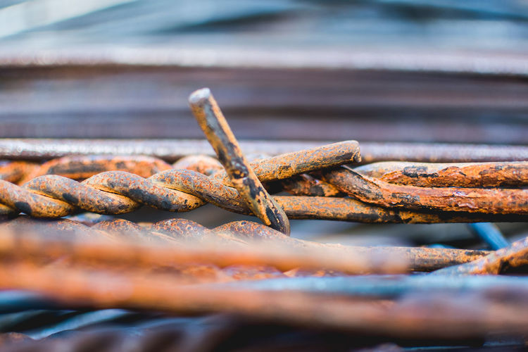 Close-up of rusted metal wire