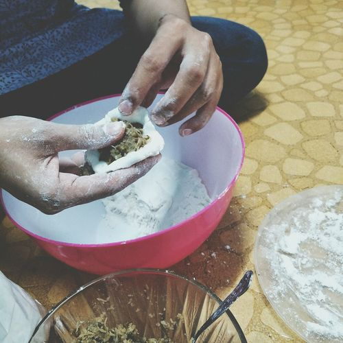 """the making of kuih """"tepung gomak"""" Malaysian Culture Malaysianfood Tradisonal Food Human Hand High Angle View Bowl Holding Preparation  Skill  Close-up Prepared Food Dough Pastry Cutter"""
