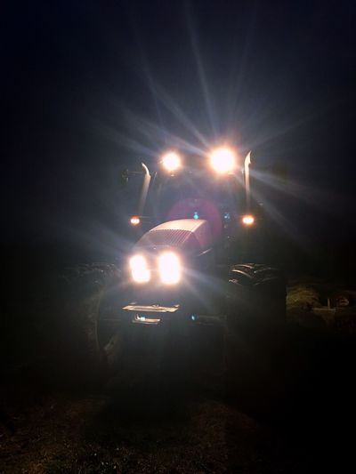 Agriculture Agricultural Machinery Tractor Illuminated Night Transportation Mode Of Transport Land Vehicle Lens Flare Lighting Equipment Spotlight Sky Flashlight Outdoors