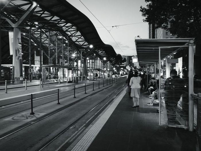 Transportation City Architecture People Outdoors Public Transportation Tram Tracks Tram Stop Melbourne City Melbourne Blackandwhite Photography Blackandwhite Australia