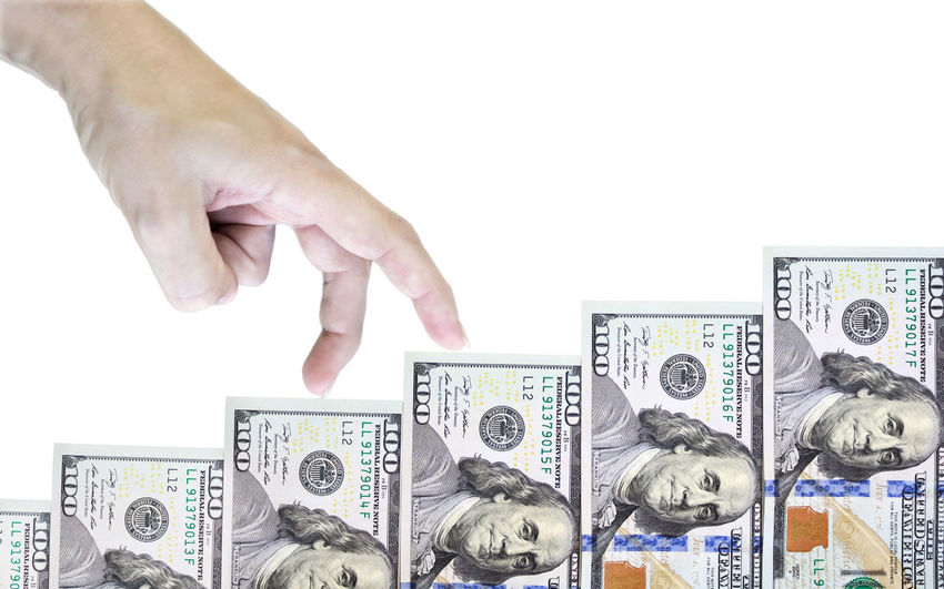 Prosperity & Luck Business Money Financial Literacy Business Finance And IndustryFinance Human Hand Finance And Economy Statistic Planning Economic Dollars Human Body Part Dollars Day Money Stairs Growth Growthmoney Growth Process Fingers White Background Wealth Capital Currency Cash Cashmoney
