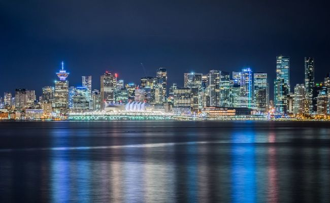 Burrard Inlet Vancouver HDR Harbour Night Building Exterior Illuminated Architecture Built Structure Skyscraper Waterfront City Tower Modern Urban Skyline Reflection Water Cityscape Downtown District Sky