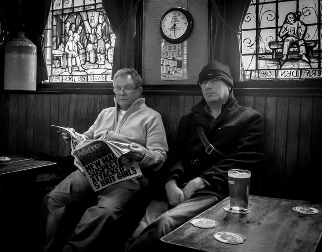 Men in a pub, Morecambe Pubs Black And White Morecambe Relaxing