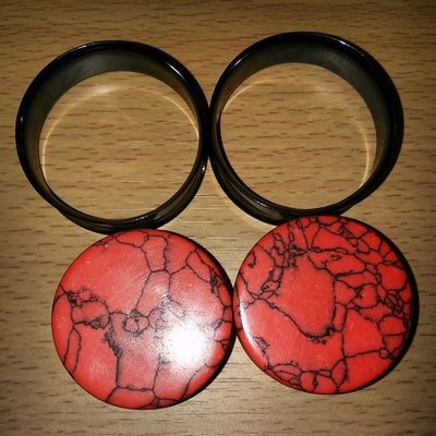 "Bottom: 1 3/8"" or 35mm red howlite plugs Top: 1 1/2"" or 38mm black steel tunnels Can't wait to wear them! Guy Tflers Brony Piercing Stretchedlobes Labret Wayfarers Selfie Plugs Snakebites Male Emo Stretchedears Mlp Fim Attractive Blackhair Otaku Cute Gauges Guyswithplugs Guyswithstretchedears Bodyjewelry Evantelico Geek freak bodymodification"