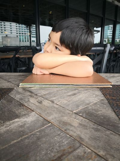 Boy Waiting Restaurant City Relaxation Portrait Headshot