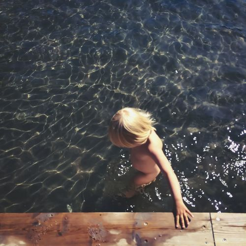 Water Blond Hair One Person Children Only Childhood Wet High Angle View Summer One Girl Only Child Rippled Leisure Activity People Vacations Lifestyles Day Swimming Pool Ankle Deep In Water Real People Place Of Heart Live For The Story 100 Days Of Summer The Great Outdoors - 2018 EyeEm Awards
