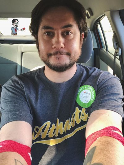 Red Cross Snapchat Good For Goodness Sake Platelet Donation Make A Difference Selfie Zombie Real People Sitting Car One Person Portrait Front View Close-up