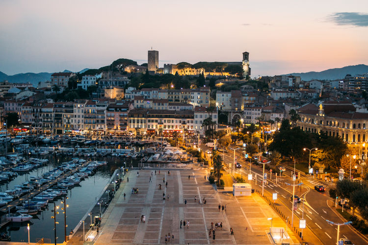 Cannes Côte D'Azur France Building City Cityscape Dusk Evening High Angle View Illuminated Night Street