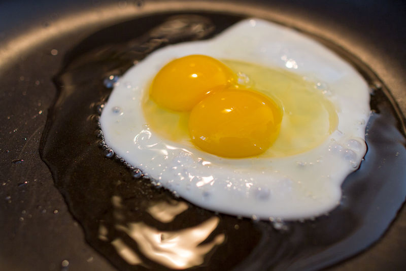 Close-up Double Yolk Egg Egg Yolk Food Food And Drink Fried Egg Indoors  Oil Pan Yellow