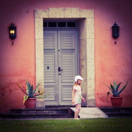 Girl Child Door Wonder Young Girl At The Door Summergirl  Pink House Going Home