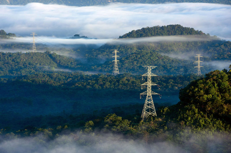 Transmission tower in green forest and beautiful morning smooth fog. high voltage power poles.