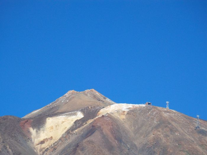 Teide Vulcanic Landscape Clear Sky Blue Sand Dune Sky Rocky Mountains