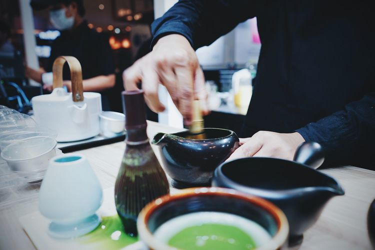 Green Tea Brew Brew Matcha Latte Hand Tea Man Hand Working Tea Time Japan Japanese Style Japan Drink Baverage Drink Premium Traditional Market Tea Leaf Food And Drink Fresh Cafe