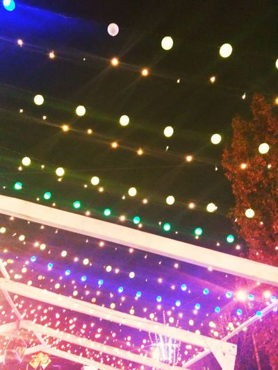 Illuminated Celebration Lighting Equipment Multi Colored Indoors  Low Angle View No People