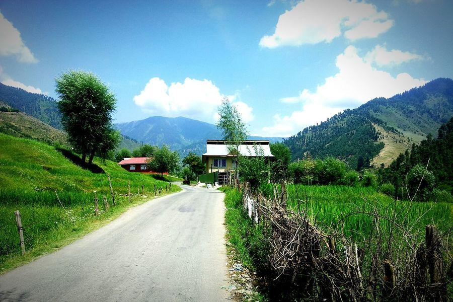 Lolab Valley Lolab Kupwara Handwara Kashmir Sopore Mountains Green Fields Greenery Scenery Blue Sky White Clouds