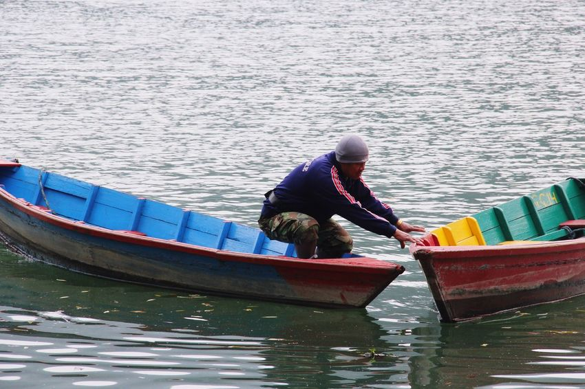 One Person Floating On Water Adult One Man Only Boatman Local Life Phewa Lake Pokhara!