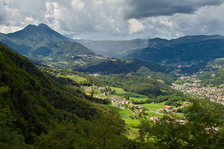 View of the upper Imagna Valley from the Sanctuary of the Cornabusa Bergamo Cloudy Corna Busa Cornabusa Imagna Valley Panorama View Cloud - Sky Green Color Green Valley Italian Valley Italy Landscape Mountain Outdoors Rainstom Sigma Sd15 Summer Summer Rainstorm Vallata Verde Valle Imagna