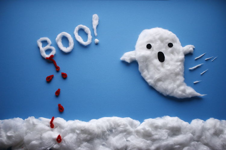 Halloween Halloween Horrors EyEmNewHere Halloween Blood Ghost Boo Drops Clouds Cotton Wool Clouds Cotton Wool Blue Sky Scary Kids Halloween_Collection Blue Studio Shot Red Close-up