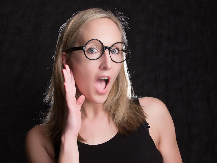 Front View Portrait Young Adult Hair One Person Blond Hair Young Women Indoors  Studio Shot Headshot Eyeglasses  Mouth Mouth Open Black Background Glasses Cut Out Hairstyle Emotion Looking At Camera Beautiful Woman Behind Closed Doors