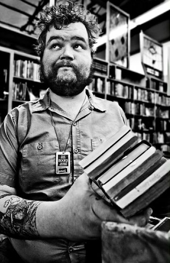 Copyright 2015 Nicole Bernal Photography Portrait Black And White Portrait Impromptu Portrait  Smirk Books Bookstore Halfpricebooks Austin