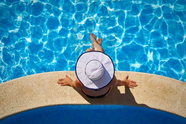 Swimming Pool Vacations High Angle View Adults Only One Person Day Summer Relaxation Refraction Water Outdoors People Adult Women Fresh On Market 2017