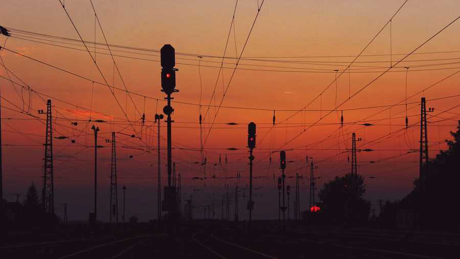 Sunset Silhouette Sky Orange Color Sun Nature Travel Destinations Outdoors Train Station Travel Hungary