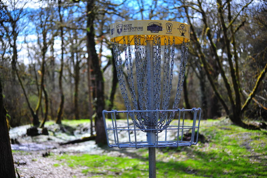 Blue Sky And Clouds Day Disk Golf Hole Nature No People Outdoors Road Sign Tree