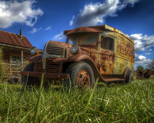 milk truck meltdown Clouds And Sky Cloud Landscape Landscape_photography Wheel Tire Rusty Rusty Metal Rustic Grass Sky Blue Sky Old Car Panel Truck Truck Abandoned Vehicle Hdr_Collection Hdr Edit Junkyard Overgrown Ghost Town Bumper Wreck Grille Scrap Metal Vintage Car Small Town America