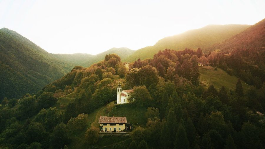 Chiesa di San Giorgio Drone  Church EyeEm Best Shots The Week on EyeEm Aerial View Mountain Plant Architecture Tree Sky Growth Scenics - Nature Sunlight Landscape Nature Beauty In Nature No People Clear Sky Day