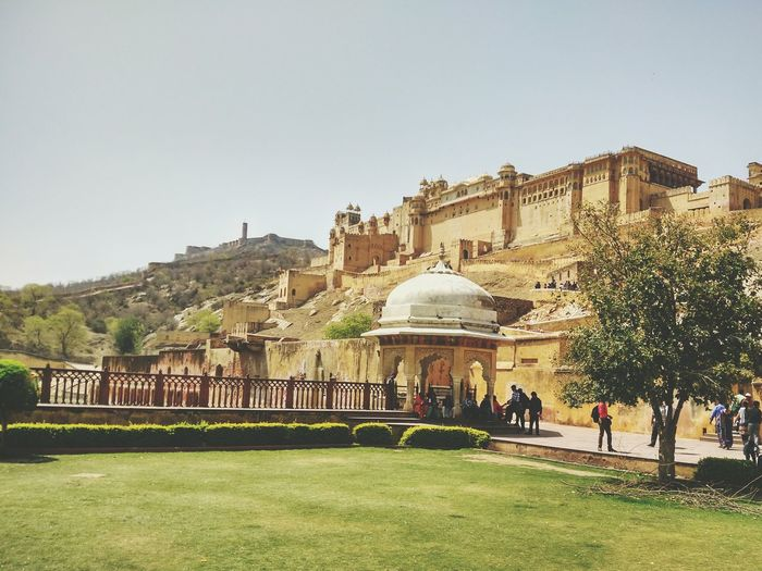 Travel Destinations Tourism Travel Architecture History Sky City Dome Outdoors Pavilion People Day Jaipur Amerfort Amerfortjaipur Rajasthan Forts Of India Mountain Landscape Incredible India India HDR