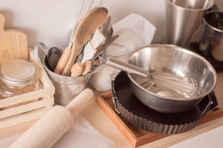 Close-up of kitchen utensils at home