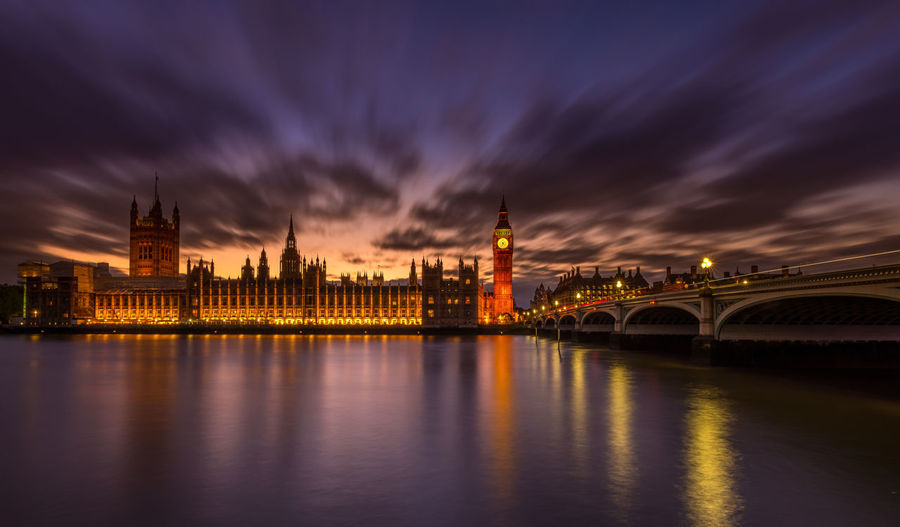 Westminster Bridge Over Thames River Against Houses Of Parliament At Night