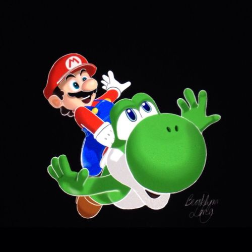 Drawing Art Mario Nintendo Game Videogames Yoshi Green Red