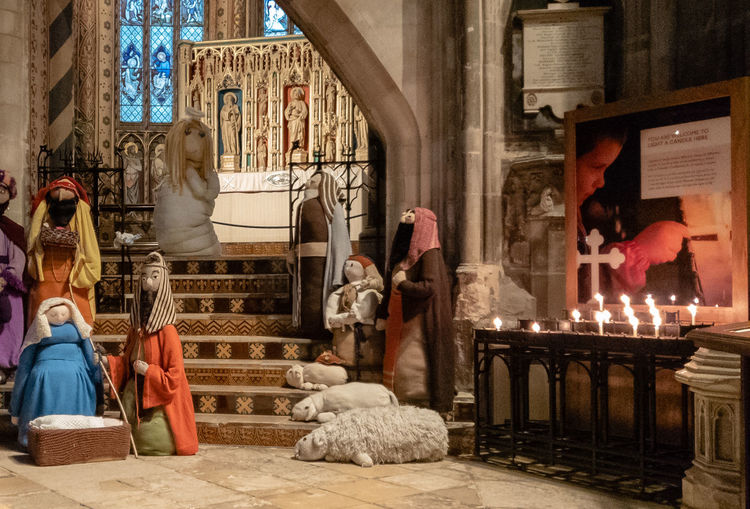 Architecture Representation Art And Craft Religion Place Of Worship Gloucester Cathedral Nativity Knitted