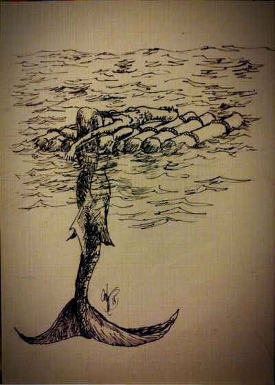 Ink Sketch an attempt at sketching a mermaid caring for a shipwreck victim. Mermaid Ocean Sealife Seascape Fantasy Art Drawing