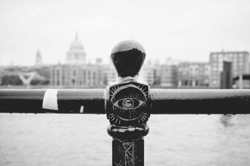 Illuminati LONDON❤ X100S Architecture Building Exterior Built Structure City Cityscape Clear Sky Close-up Coin-operated Binoculars Day Focus On Foreground Fujifilm_xseries No People Outdoors Sky Travel Destinations Vscofilm Water