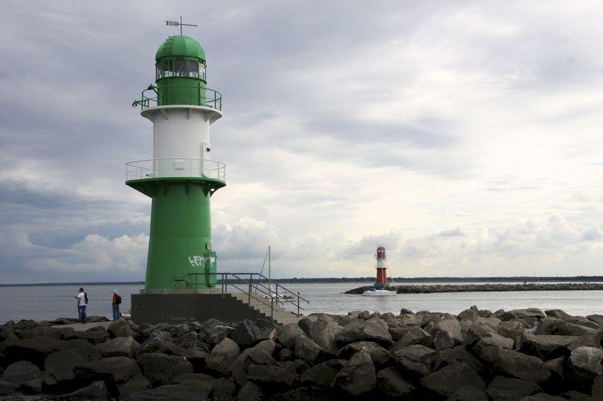 Architecture Built Structure Hafeneinfahrt Himmel Leuchttürme Lighthouse Meer Ostsee Pier Sea Warnemünde Water Wolken