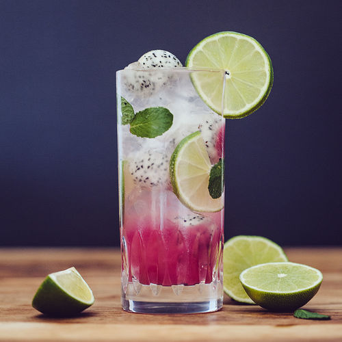 Dragonfruit-Mojito After Work Beverage Citrus Fruit Cocktail Crushed Ice Dragonfruit Drink Drinking Glass Freshness Fruit Ice Indoors  Leaf Lime Mojito No People Refreshment