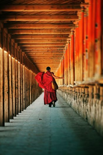Rear view of monk walking at temple corridor