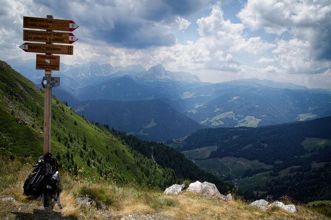 Mountains in South Tyrol are great hiking destinations. Mountain Nature Mountain Range Sign Tranquil Scene Landscape Idyllic Hiking Hiking Trail Hiking Sign South Tyrol South Tyrol, Italy Italy Backpack Backpacking Alps Mountains Travel Destinations Travel Europe Europe Alpine Landscape Alpine Hiking Alpine Kronplatz S.Lorenzo
