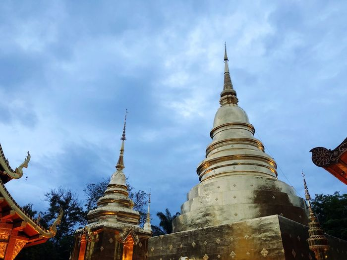 Sky Built Structure Building Exterior Architecture Low Angle View Religion Belief Spirituality Cloud - Sky Building Place Of Worship Tower Spire  Nature No People Travel Destinations Pagoda Outdoors