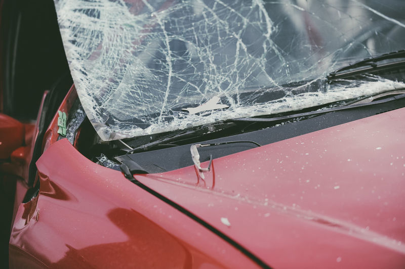 Breaking Broken Car Car Accident Close-up Cracked Damaged Day Glass - Material High Angle View Land Vehicle Metal Misfortune Mode Of Transportation Motor Vehicle No People Outdoors Red Transparent Transportation Vehicle Hood
