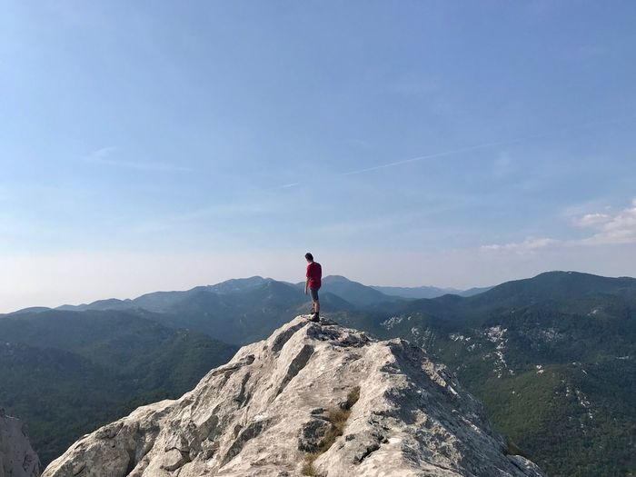 Full length of man standing on mountain against sky