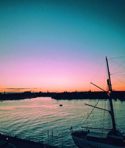 Stockholm, Sweden Sunset Boat
