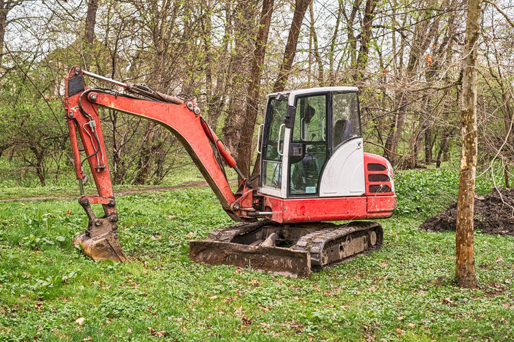 a small red excavator in the woods A Small Red Excavator In The Woods Excavator Woods Forest Tree Plant Land Day Nature Mode Of Transportation Transportation Land Vehicle Field Outdoors Grass Machinery Growth No People Damaged Construction Machinery Landscape Non-urban Scene WoodLand