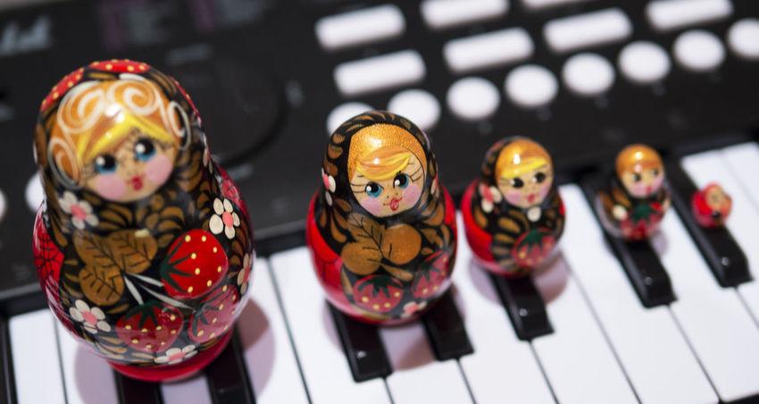 Beautifully Organized Black Figurine  Indoors  Keyboard Matryoshka Matryoshka Doll No People Red Russian Dolls Strawberry White