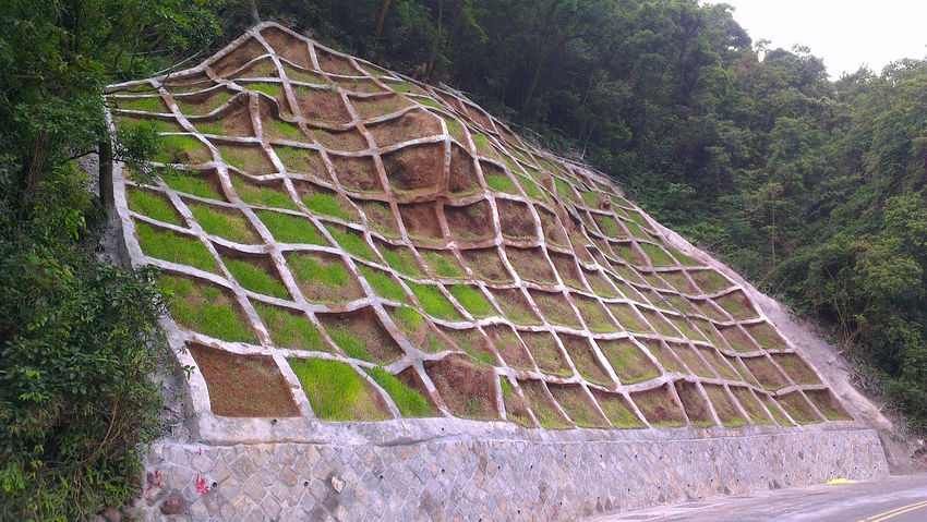 Built Structure Criss Cross Hillside Mountain Slope Pattern Peeled Mountain Squares Textures And Surfaces YangMingShan Taiwan