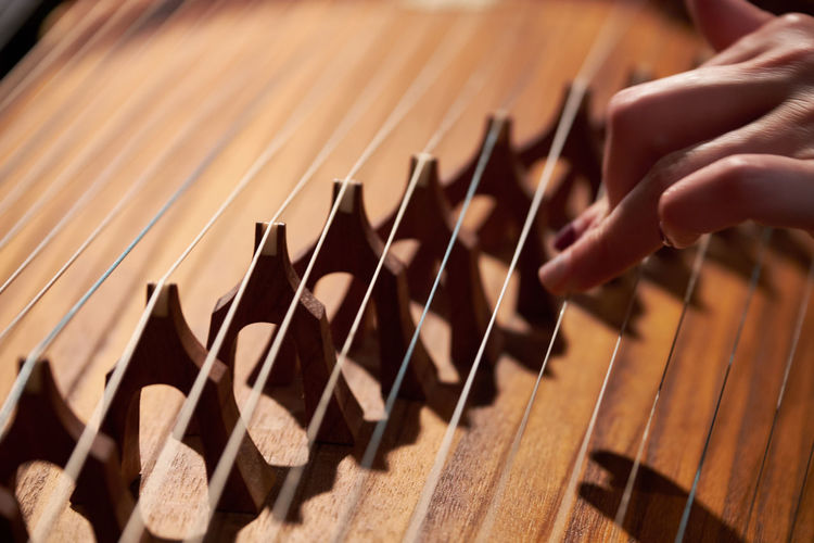 Guzheng Musical Instrument Close-up String Instrument Playing Human Finger Arts Culture And Entertainment Musician